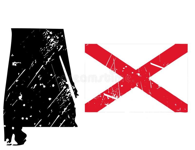 Alabama van Grunge kaart met vlag royalty-vrije illustratie
