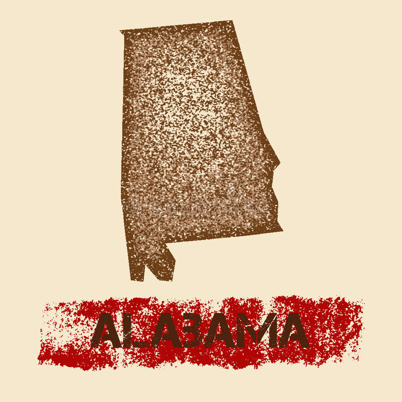 Alabama verontruste kaart royalty-vrije illustratie