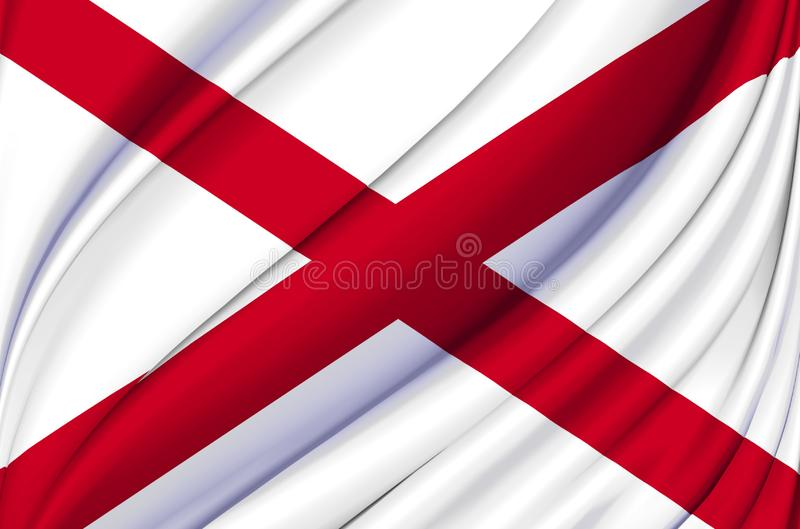 Alabama waving flag illustration. US states. Perfect for background and texture usage royalty free illustration