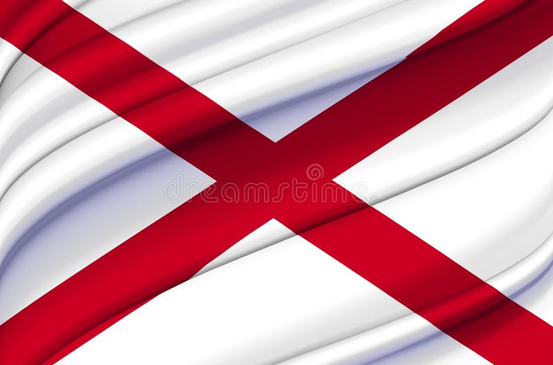 Alabama waving flag illustration. US states. Perfect for background and texture usage vector illustration
