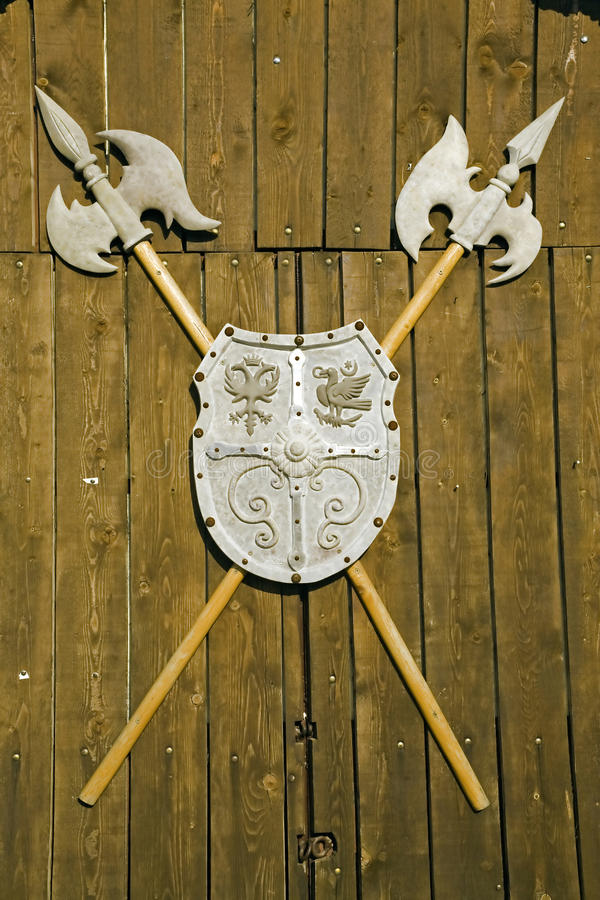 Alabarda medioevale rumena fotografie stock