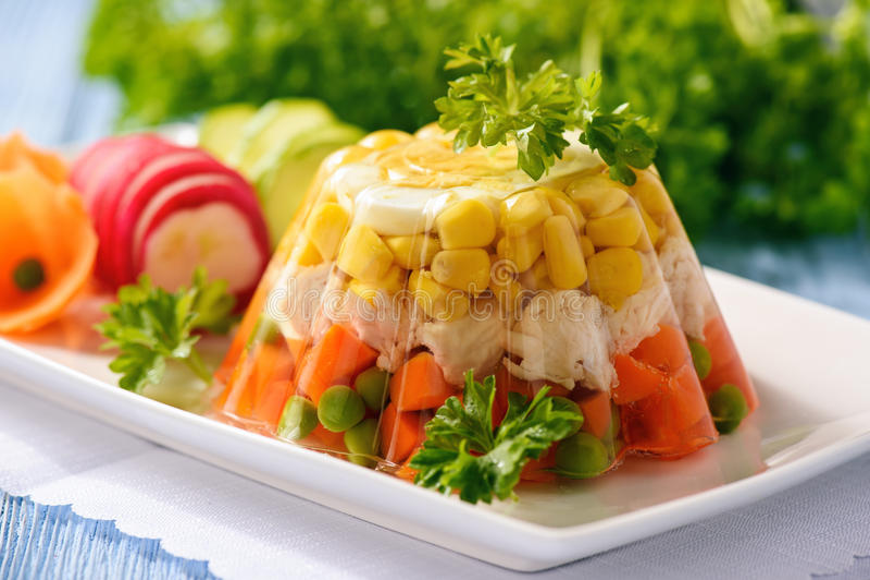 Aladåb göra gelé av höna med ägget och grönsaker arkivbilder