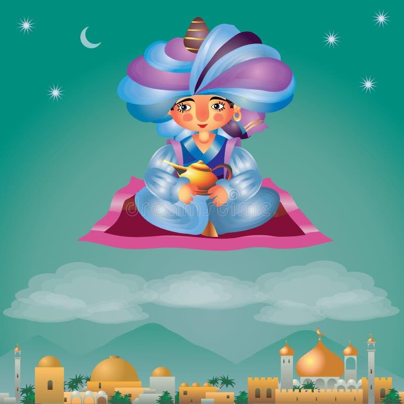 Aladdin die op een magisch tapijt vliegen stock illustratie