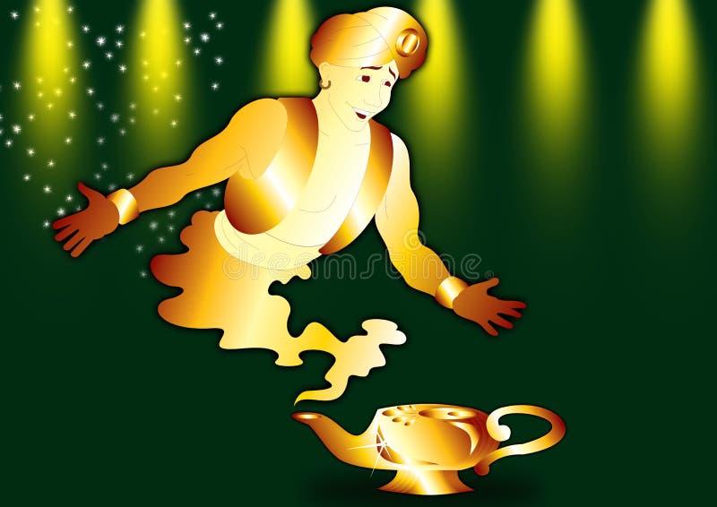Aladdin e génios ilustração do vetor