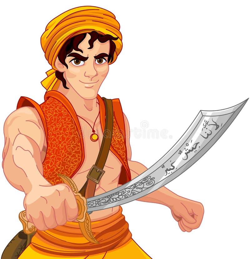 Aladdin en Prachtige Sabel stock illustratie