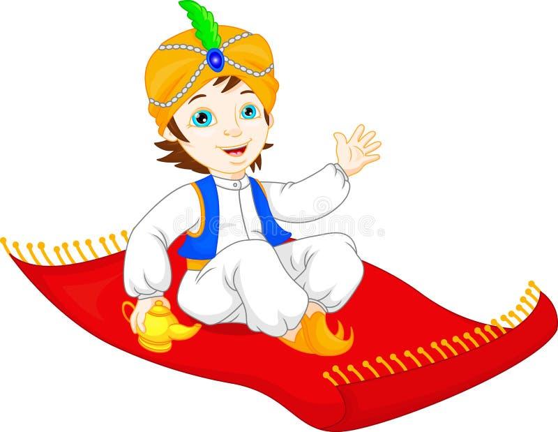Aladdin on a flying carpet traveling vector illustration