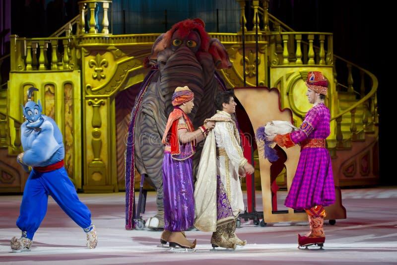 Aladdin Genie y elefante foto de archivo