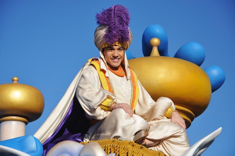 Aladdin i en dröm kommer riktigt firar ståtar arkivfoto