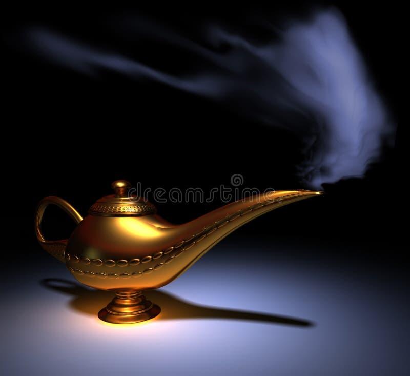 Aladdin lamp. Golden Aladdin lamp smoking - rendered in 3d