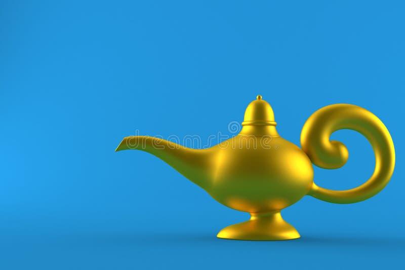 Aladdin lamp. On blue background vector illustration