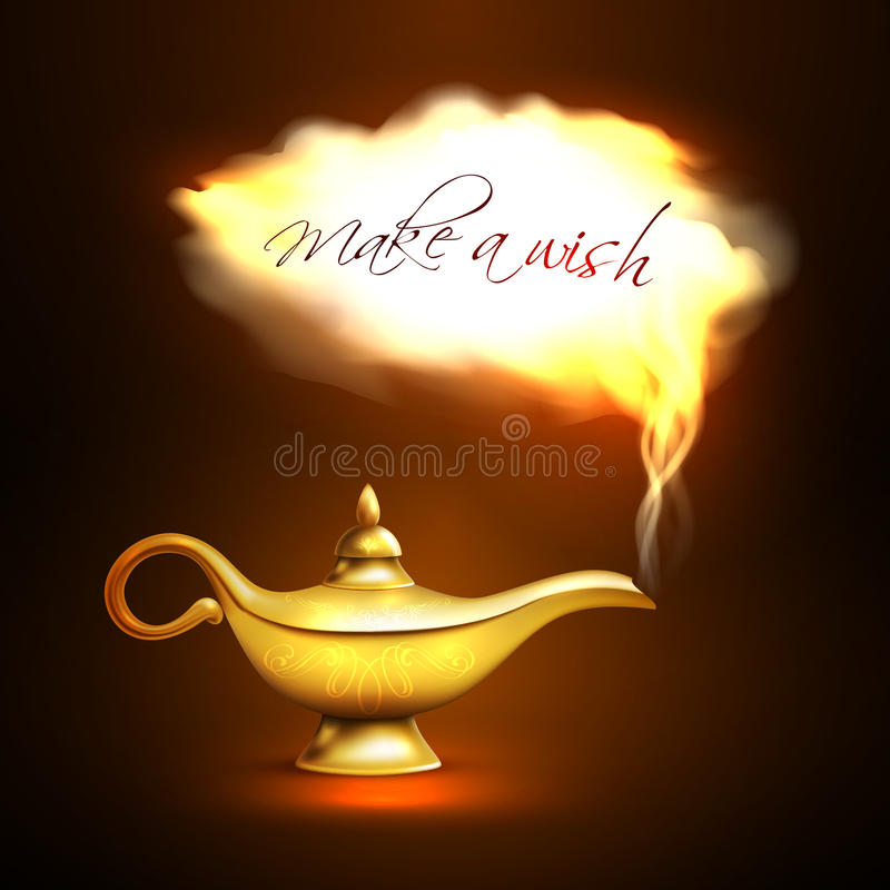 Aladdin Lamp Cloud Concept. Realistic aladdin lamp with cloud look like departing from lamp genie and title make a wish vector illustration royalty free illustration