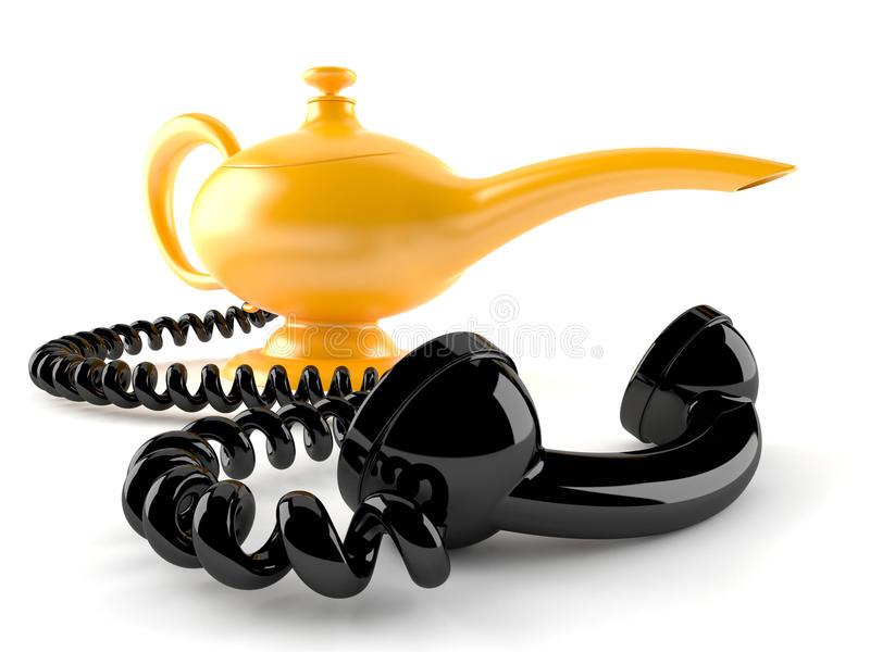 Aladdin lamp with computer mouse. Isolated on white background vector illustration