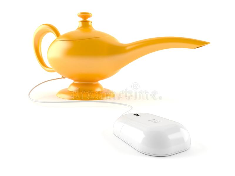 Aladdin lamp with computer mouse. On white background royalty free illustration