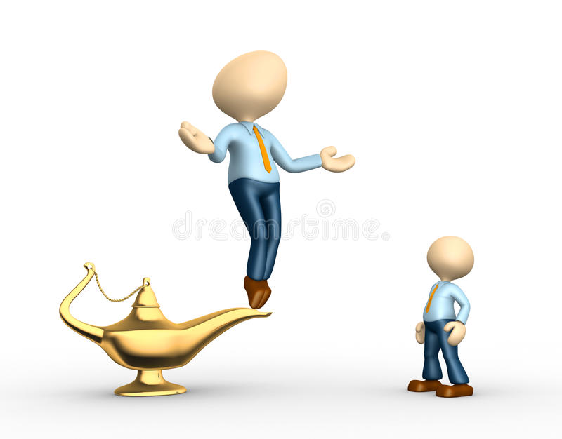 Aladdin lamp. 3d people - men, person and golden Aladdin lamp royalty free illustration