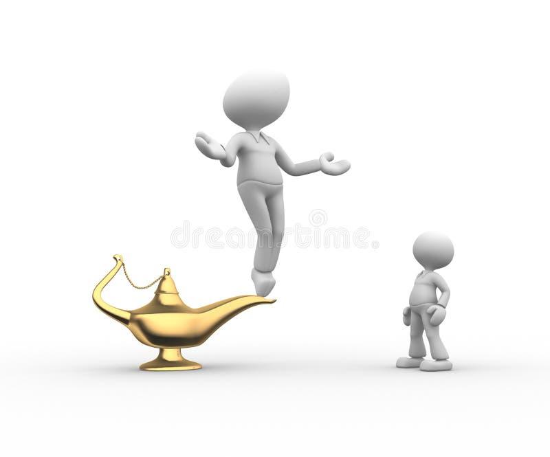 Aladdin lamp. 3d people - men, person and golden Aladdin lamp vector illustration