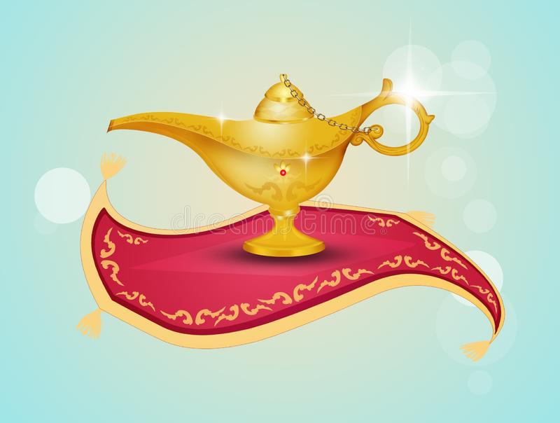 Aladdin lamp on the flying carpet. Illustration of Aladdin lamp on the flying carpet stock illustration