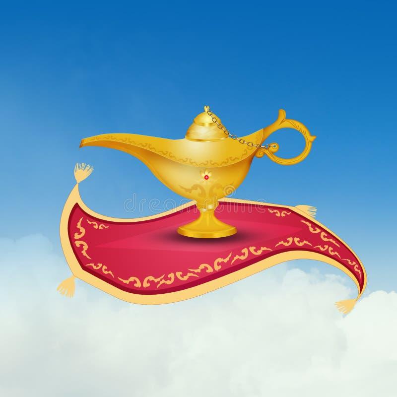 Aladdin lamp on the flying carpet. Illustration of Aladdin lamp on the flying carpet vector illustration