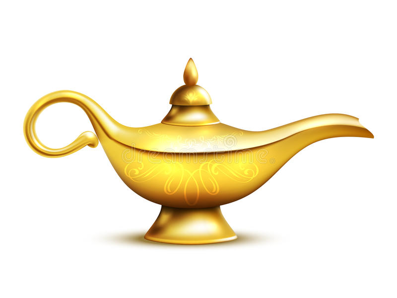 Aladdin Lamp Isolated Icon royalty illustrazione gratis