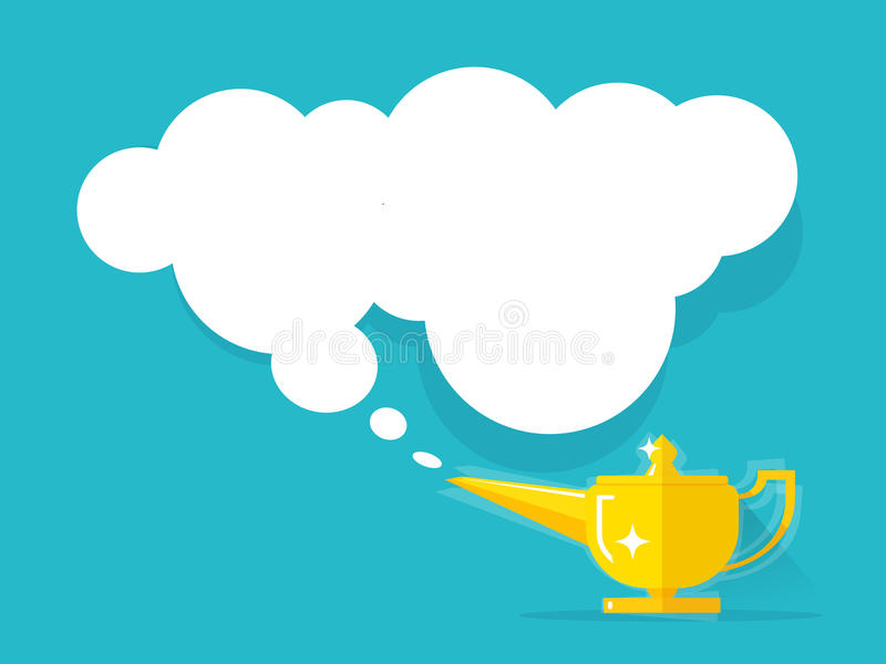 Aladdin lamp with Jean cloud vector illustration. On colorful background, old golden Genie magic lamp with wish smoke flat cartoon style stock illustration