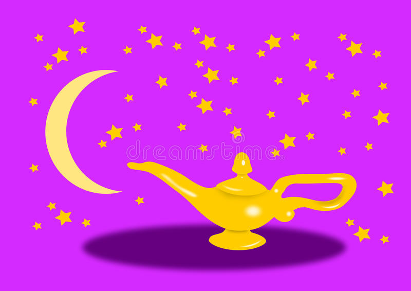 Aladdin Lamp at Night. Aladdin lamp against a starry sky with stars and a New moon vector illustration