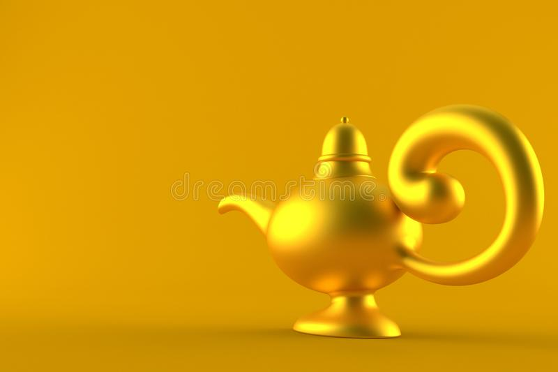 Aladdin lamp. On orange background stock illustration