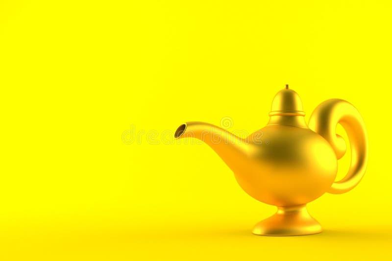 Aladdin lamp. On orange background vector illustration