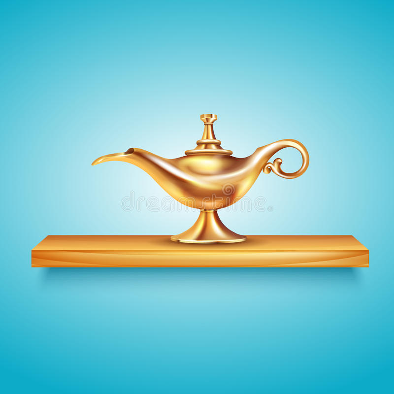 Aladdin Lamp On Pedestal Composition ilustración del vector