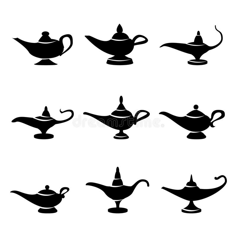 Aladdin lamp Vector. Set Icons Aladdins lamp Signs. Illustration Of Wish And Mystery Souvenir. Aladdin lamp Vector. Set Icons Aladdins lamp Signs. Illustration vector illustration
