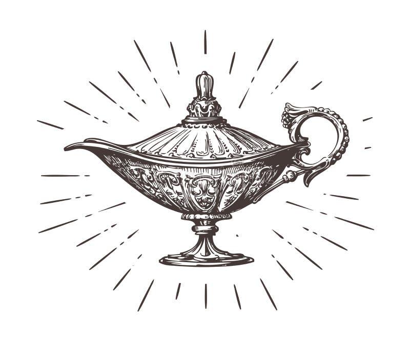 Aladdin magic or genie lamp. Vintage sketch vector illustration. Isolated on white background stock illustration