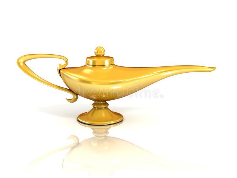 Aladdin magic lamp 3d illustration. On white vector illustration