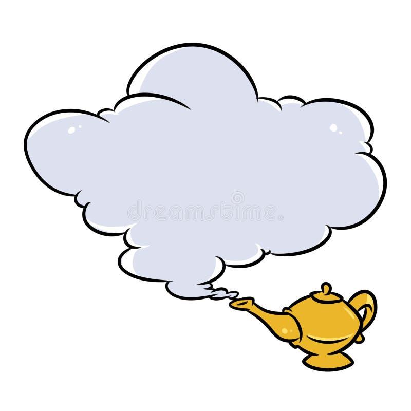 Aladdin Magic Lamp Jin Cloud-beeldverhaal stock illustratie