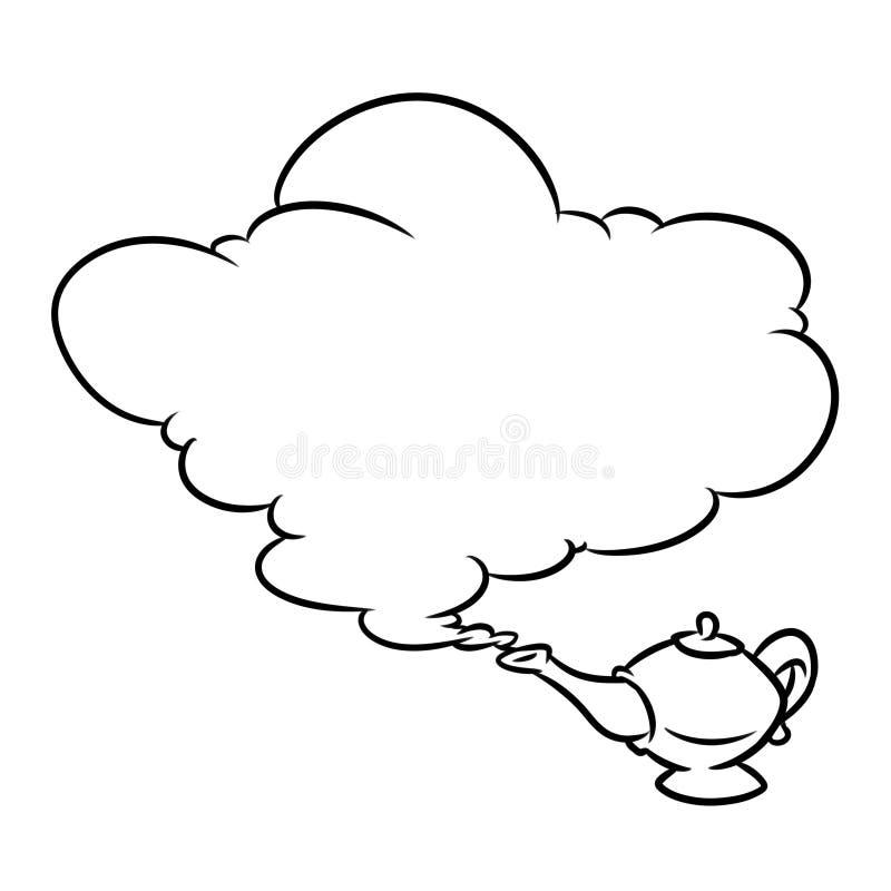 Aladdin Magic Lamp Jin Cloud-beeldverhaalillustratie stock illustratie