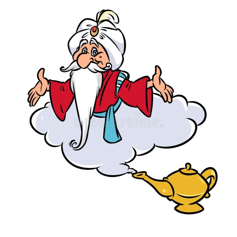 Aladdin Magic Lamp Jin old wizard Cloud cartoon illustration. Isolated image royalty free illustration