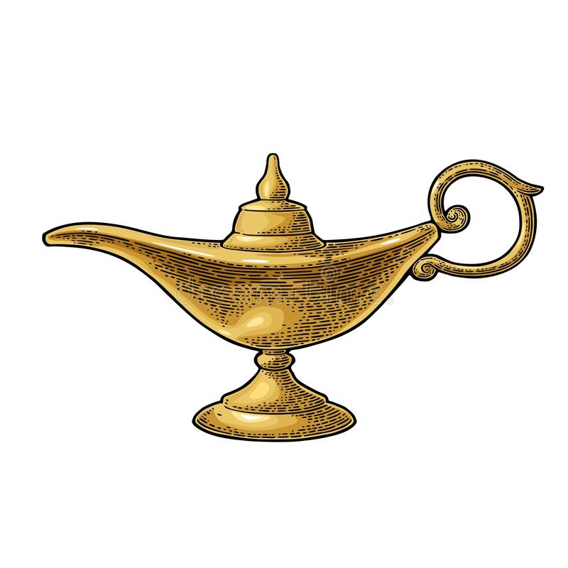Aladdin magic metal lamp. Vector black vintage engraving. Aladdin magic metal lamp. Vector color vintage engraving illustration isolated on a white background royalty free illustration