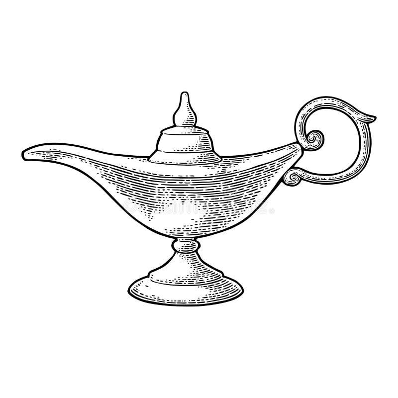 Aladdin magic metal lamp. Vector black vintage engraving. Illustration isolated on a white background vector illustration