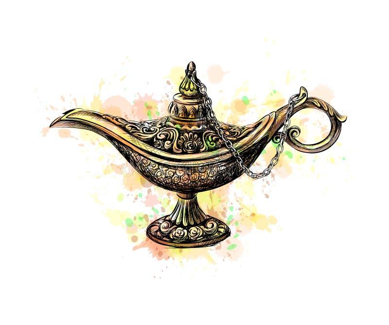 Aladdin magilampa royaltyfri illustrationer