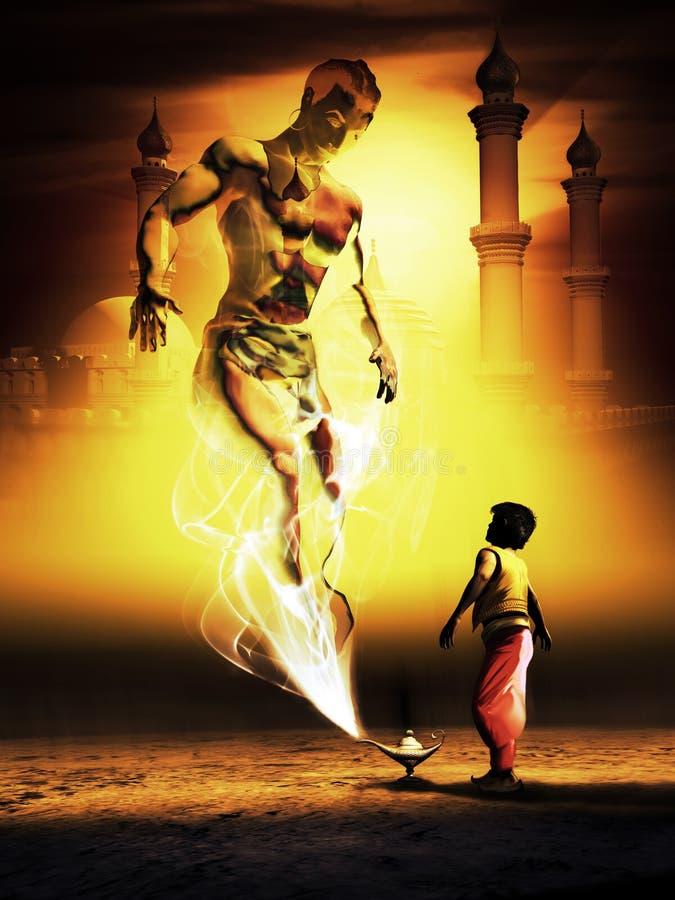 Aladdin och den magiska lampan royaltyfri illustrationer