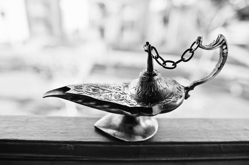 Aladdin oil lamp east design with egypt texture stock images