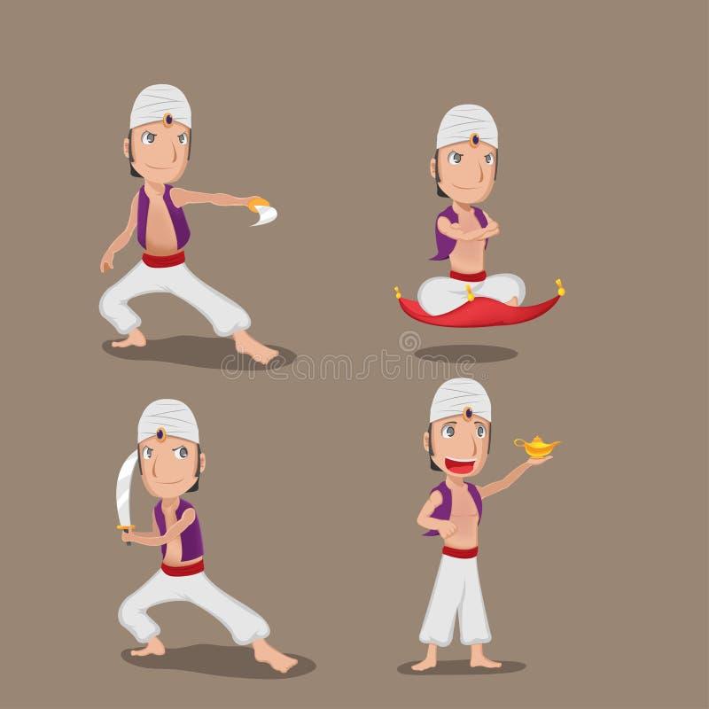Aladdin Persian Character Cartoon Set-Vector stock illustratie