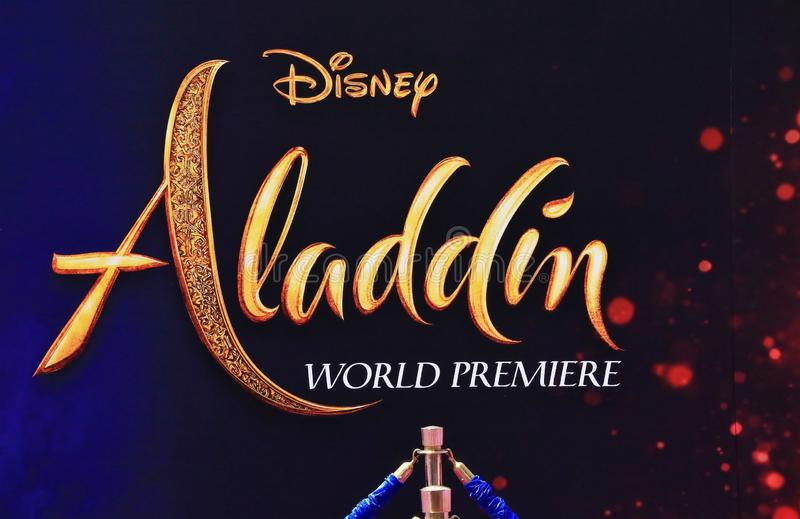 Aladdin premiere at El Capitan Theatre. Aladdin sign announcing the premiere at El Capitan Theatre stock image