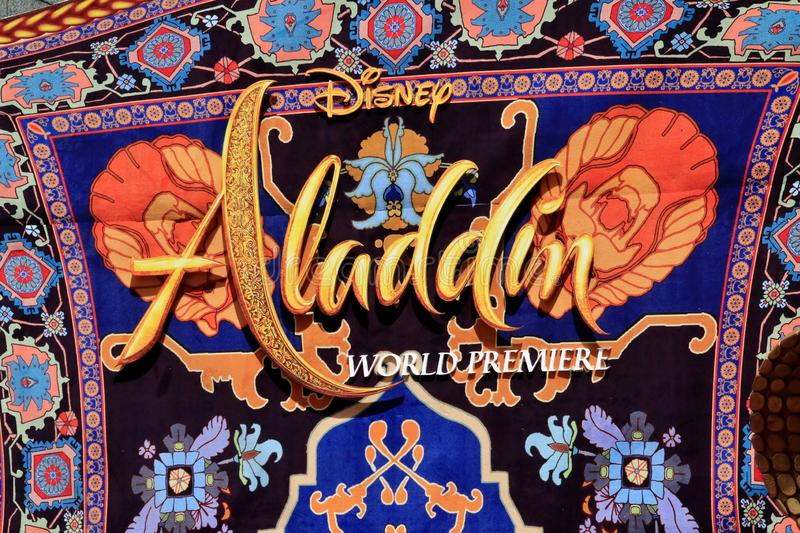 Aladdin premiere at El Capitan Theatre. Aladdin sign announcing the premiere at El Capitan Theatre royalty free stock images