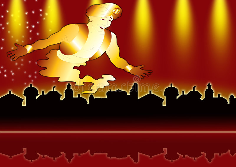 Aladdin's city. With a genie-sized flame royalty free illustration