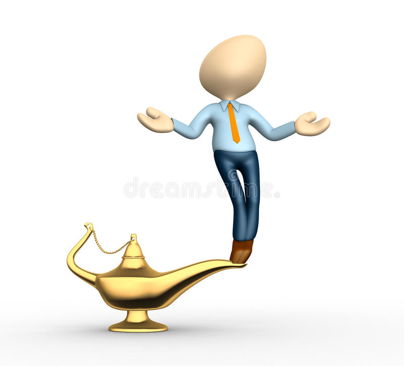 Aladdin's lamp. 3d people - men, person and golden Aladdin lamp royalty free illustration