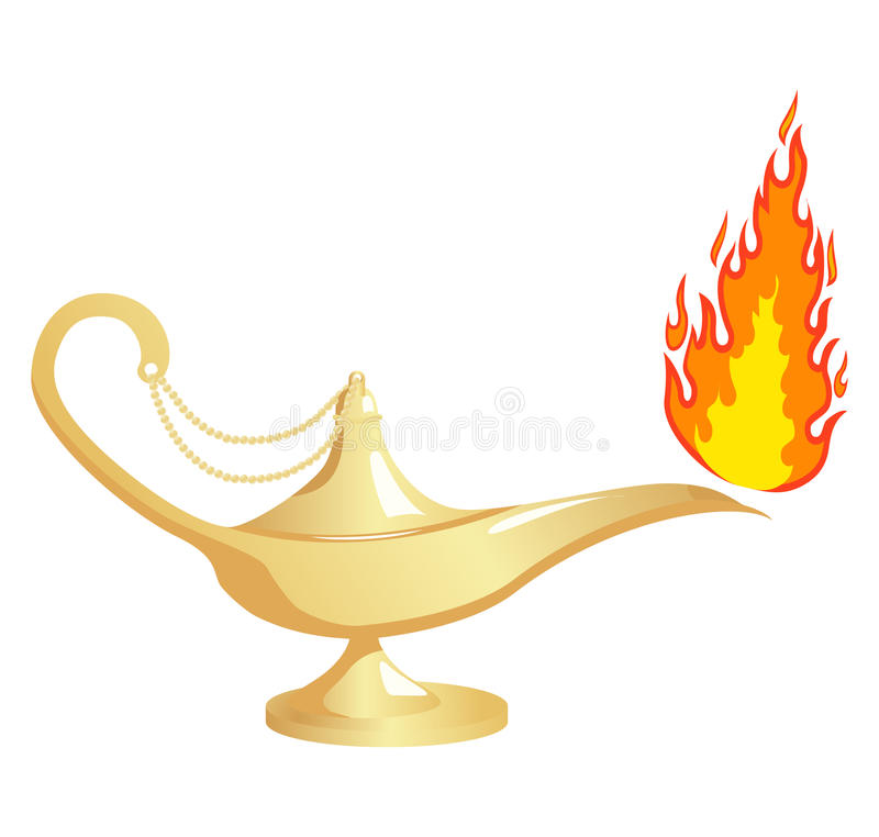 Aladdin`s lamp with fire. Vector illustration, isolated on a white vector illustration
