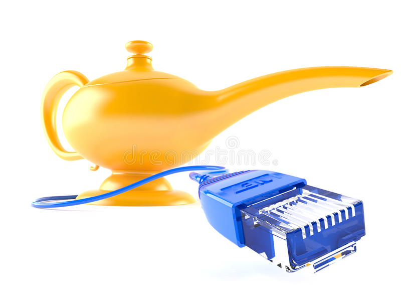 Aladdin`s lamp with network cable. Isolated on white background royalty free illustration
