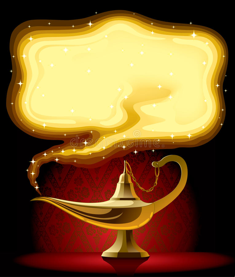 Aladdin's Magic Lamp. Isolated raster version of vector poster with the Aladdin's Magic Lamp (contain the Clipping Path) There is in addition a vector format ( vector illustration