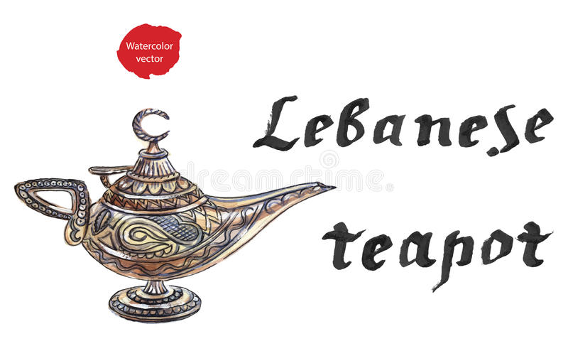 Aladdin's magic lamp with Genie royalty free illustration