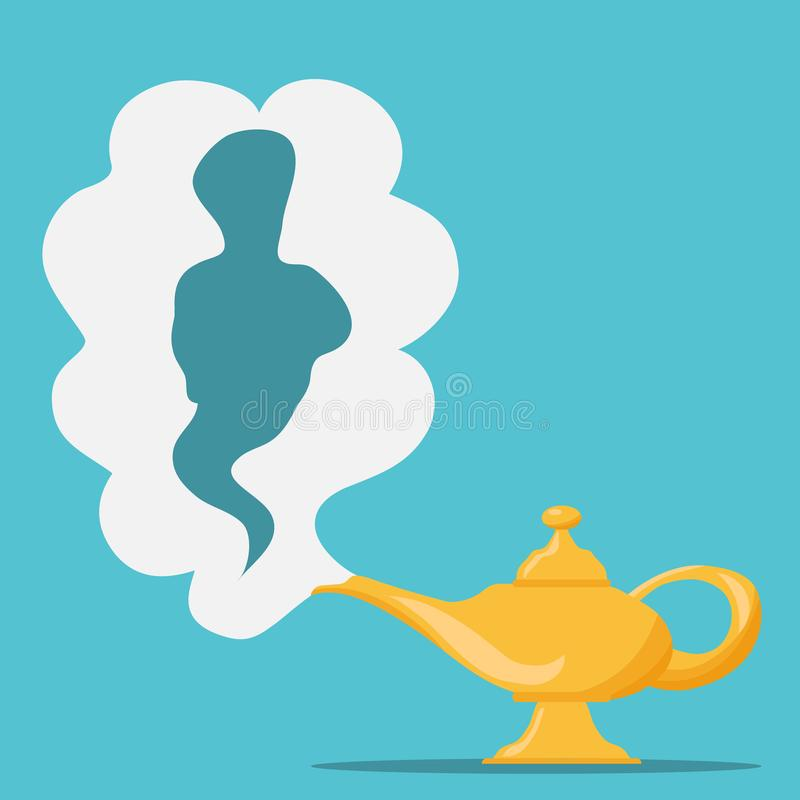Aladdin`s Magic Lamp. Vector genie magic aladdin lamp with white smoke as a copy-space. stock illustration