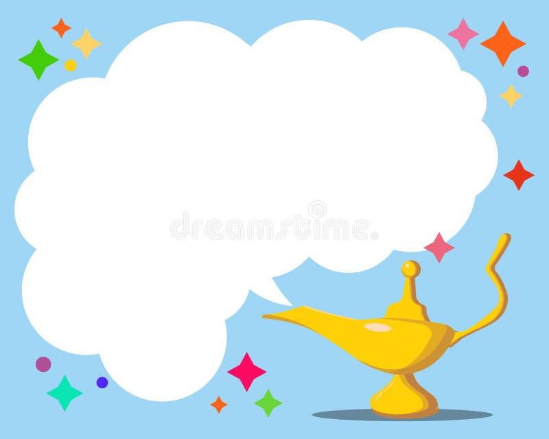 Aladdin s magisk lampa Lampa för aladdin för vektorande i arabiska sagor magisk och vit rök Alladin guld- lykta med mörkt - blå b stock illustrationer