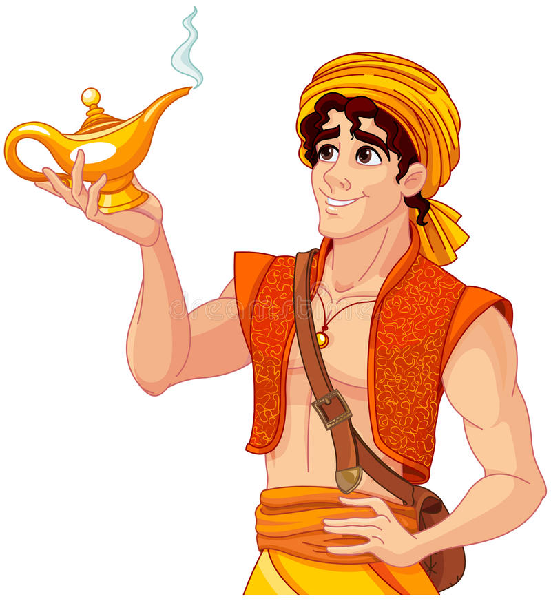Aladdin and the Wonderful Lamp stock illustration